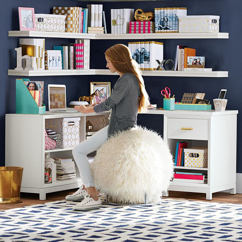 Interior Design Idea - 11 Essentials For Kids Homework Stations // Comfy Seating -- Whether it's a stool, an oversized ball, a swivel chair or extra padding on an ordinary desk chair, make sure your child is comfortable at their desk.