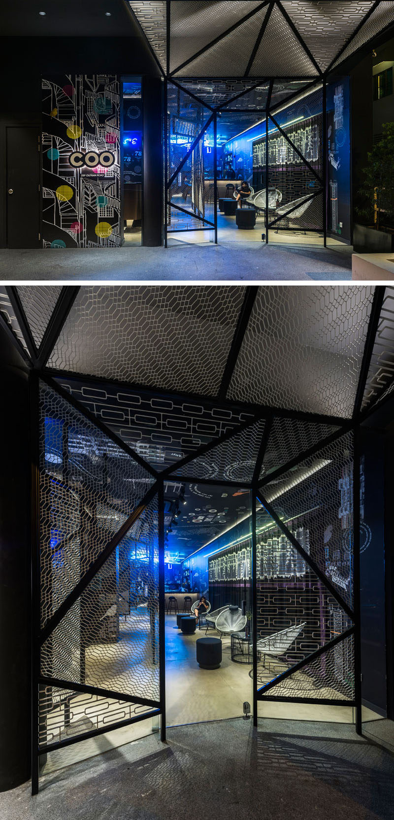 The eye-catching entrance of this Singaporean hostel is framed by metal mesh, taking cues from the metal gates of the old housing estates around the area