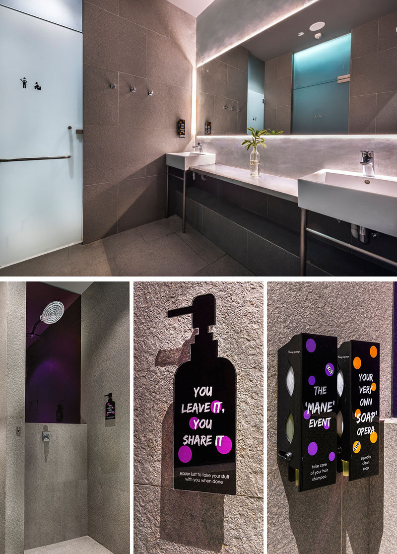 In the shared bathrooms, there are rain showers and custom-designed soap and shampoo graphics. A large back-lit mirror provides a soft glow to the room.