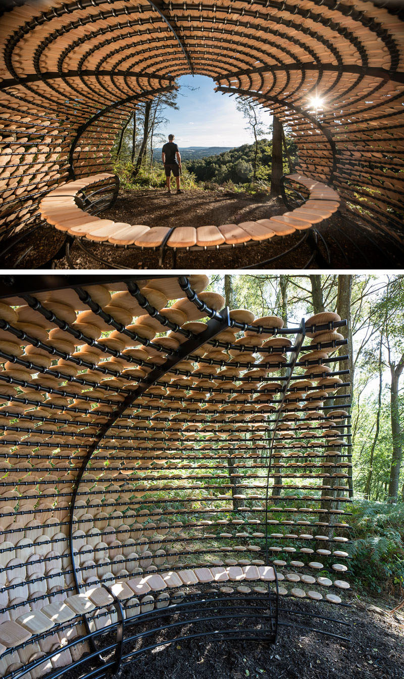 'Perspectives' is the first permanent architectural installation designed by Giles Miller Studio. The installation is covered in cedar shingles with messages etched into them.