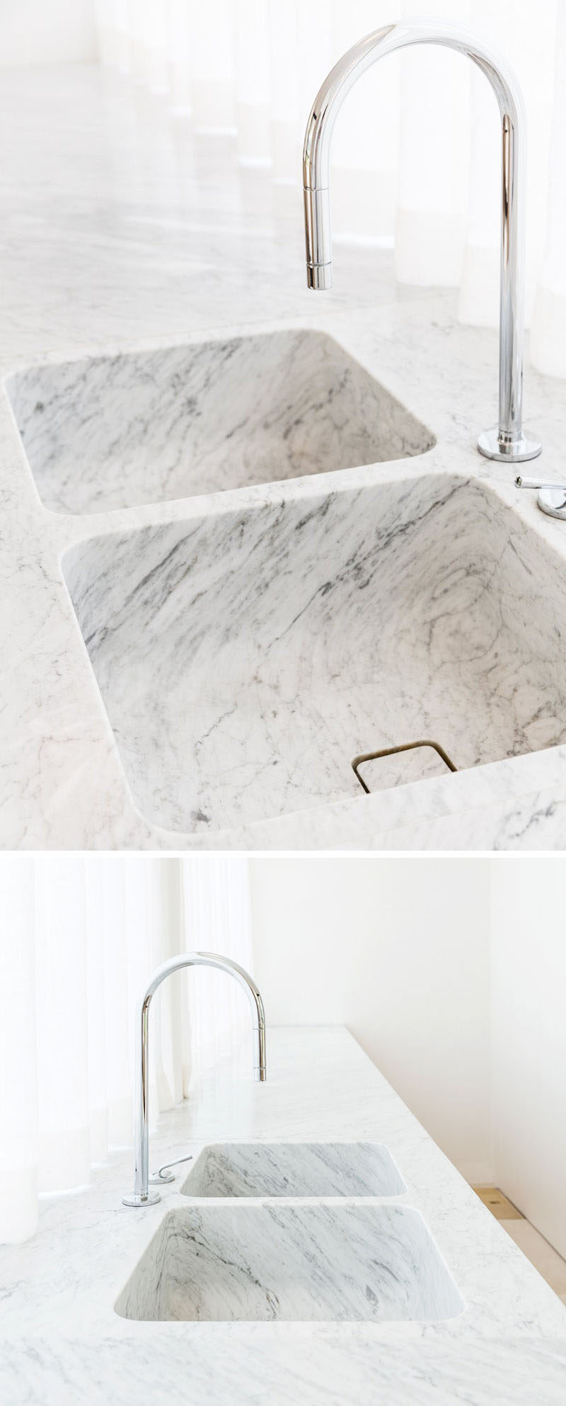 KITCHEN DESIGN IDEA - 7 Kitchen Sinks Integrated Into The Countertop // These two integrated sinks showcase the beauty of marble by allowing the striations to continue from the countertop down into the base of the sink.