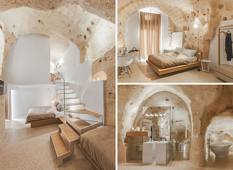 A modern interior was built inside this historic building in italy