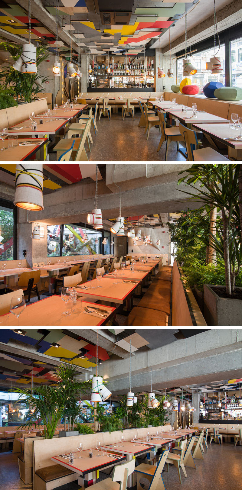 This restaurant serves pizza and pasta under a canopy of colorful ceiling details.