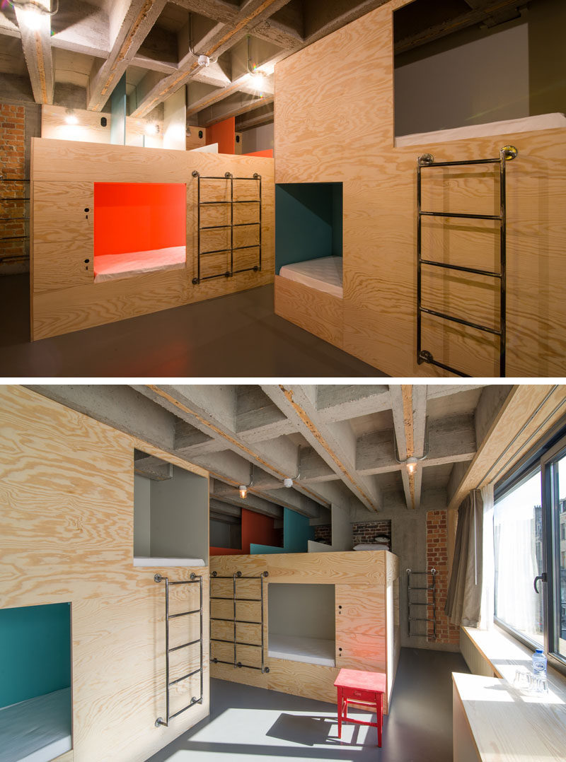 The JAM hotel in Brussels has dormitory style rooms, with pops of color defining the sleeping spaces.