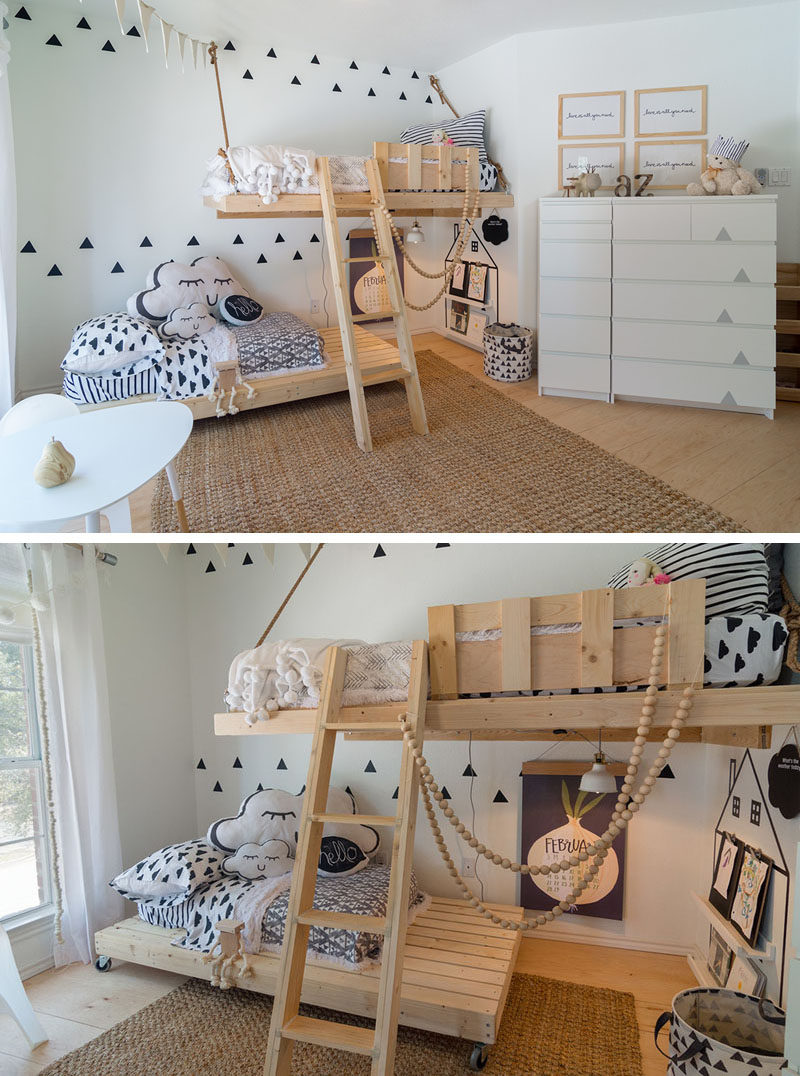 This Gender Neutral Kids Room Features Bright White Walls, Scandinavian  Inspired Decor And Custom Made