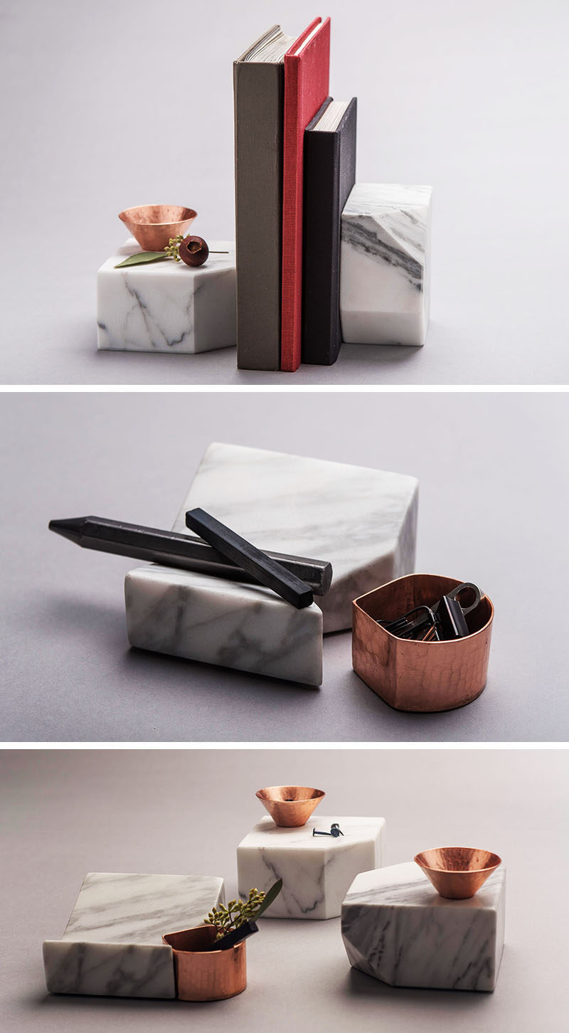 Office Decor Idea - Add A Touch Of Marble // These marble organizers include spots for resting papers or business cards, are heavy enough to be used as bookends, and the copper bits can hold pens, pencils, greenery, or other small things that would normally be scattered across your desk.