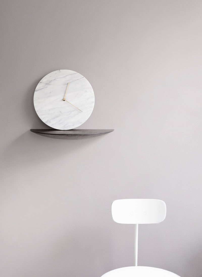 Office Decor Idea - Add A Touch Of Marble // Never miss a meeting again with this super sleek minimal marble wall clock. There's no question you'll be on time because you'll constantly be gazing up at the beautiful circle of marble on your wall!