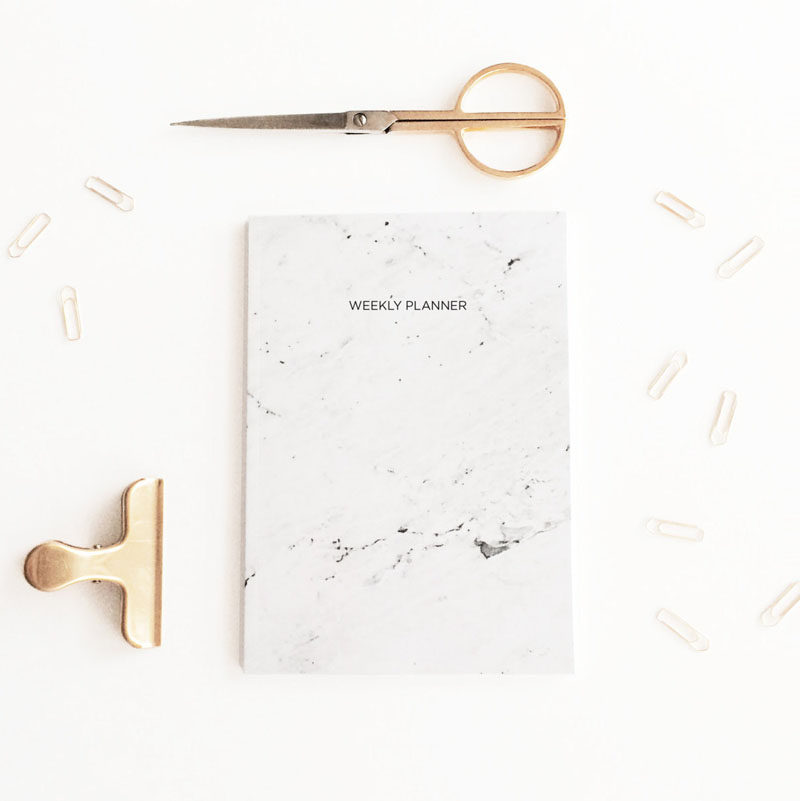 Office Decor Idea - Add A Touch Of Marble // Jot down thoughts, plans, and important dates in a marble journal or agenda and keep yourself organized in style.