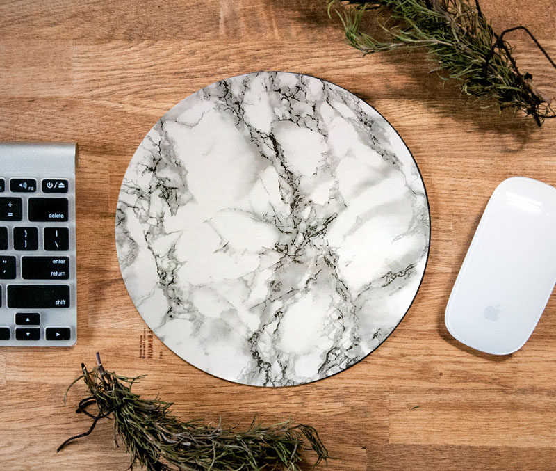 Office Decor Idea - Add A Touch Of Marble // A marble mouse pad is a subtle and comfortable way to add a touch of marble to your office space and will make it easier to scroll and click and surf the web.