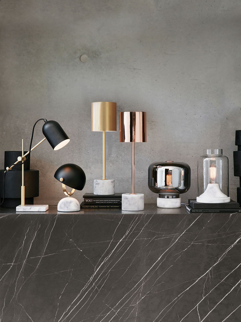 Office Decor Idea - Add A Touch Of Marble // Lighten up your space in more ways than one. A marble desk lamp will illuminate your office and, if the stone is light in color, it'll add a brightening effect even when the lamp isn't turned on.