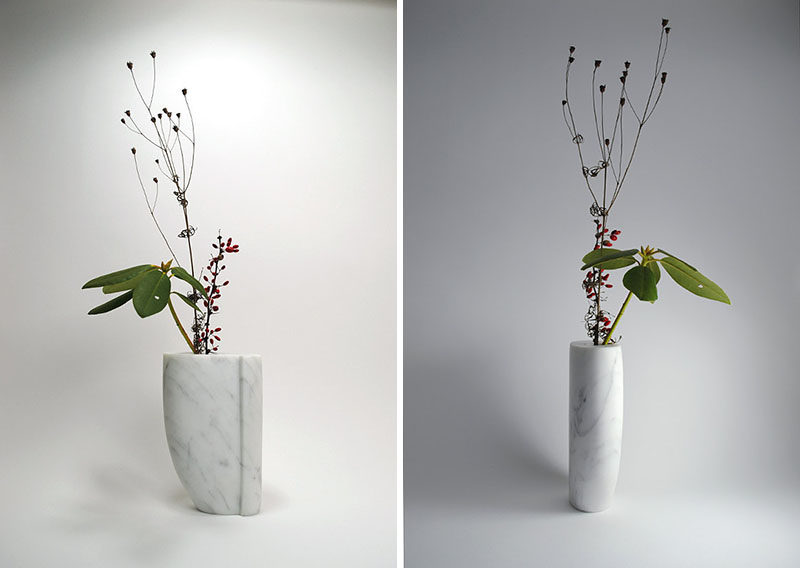 Office Decor Idea - Add A Touch Of Marble // Add some life to your office with some flowers or greenery in a marble vase. It'll add a personal touch and make your office feel a little more fun.