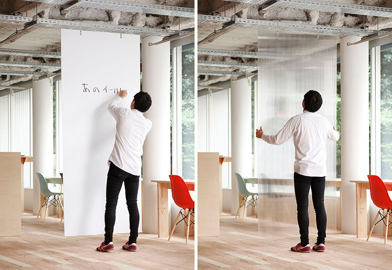 Room Divider Ideas - 10 Examples Of Multi-Functional Room Dividers // These hanging dividers section off space and can be used as a white board to jot down ideas throughout the day.