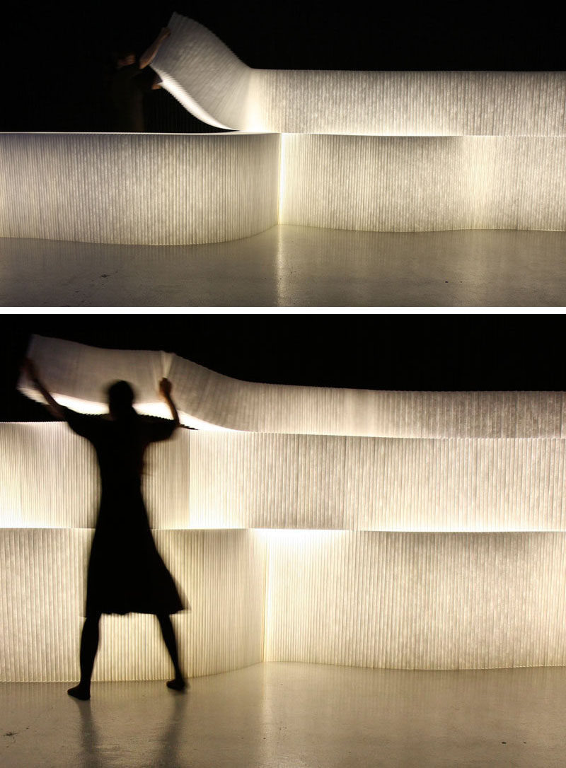 Room Divider Ideas - 10 Examples Of Multi-Functional Room Dividers // Create soft light and section off areas of a space using these LED light boxes. They're stackable so you can have them as tall or as short as you like and they can be worked into different shapes so they can create divisions in multiple styles.
