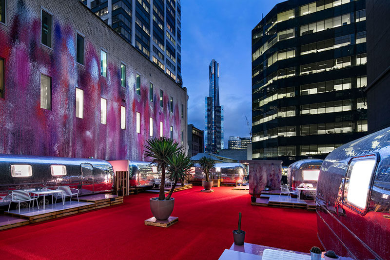 You can stay in an Airstream at this rooftop boutique hotel in Melbourne, Australia.