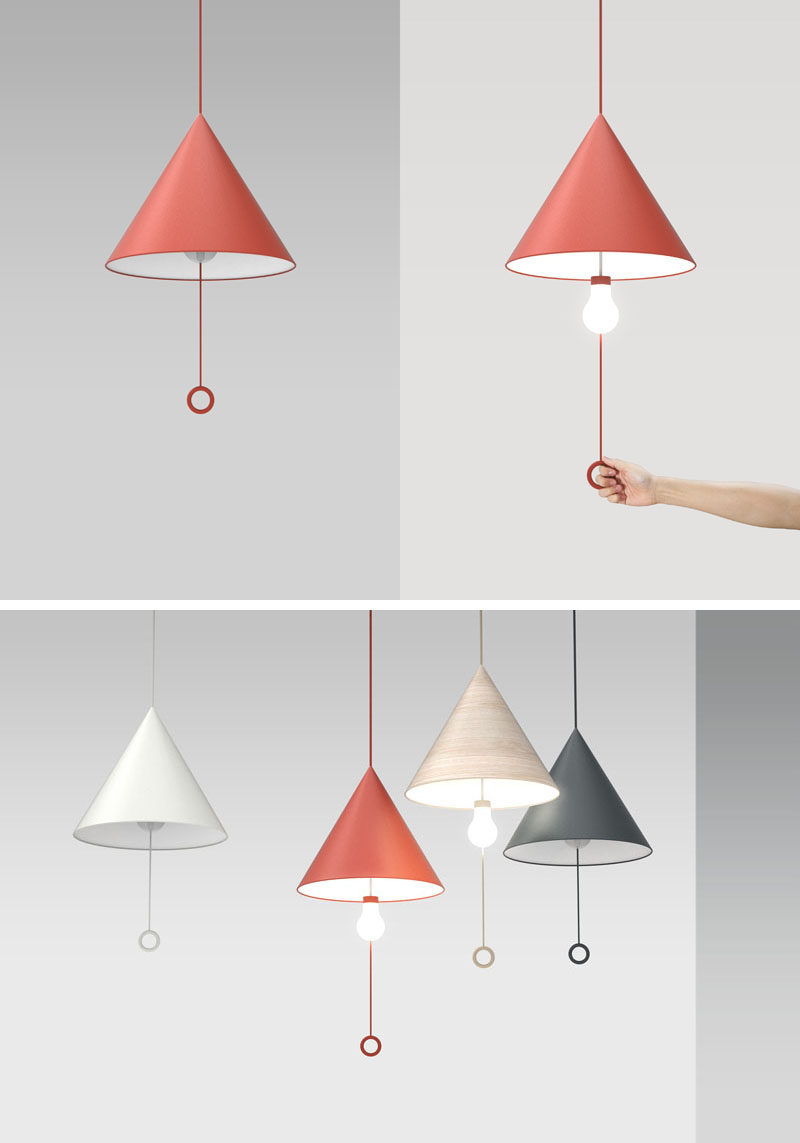 This OOPS! pendant lamp looks just like every other lamp until you turn one on and the light bulb 'accidentally' drops down from the shade, creating an 'oops' moment.