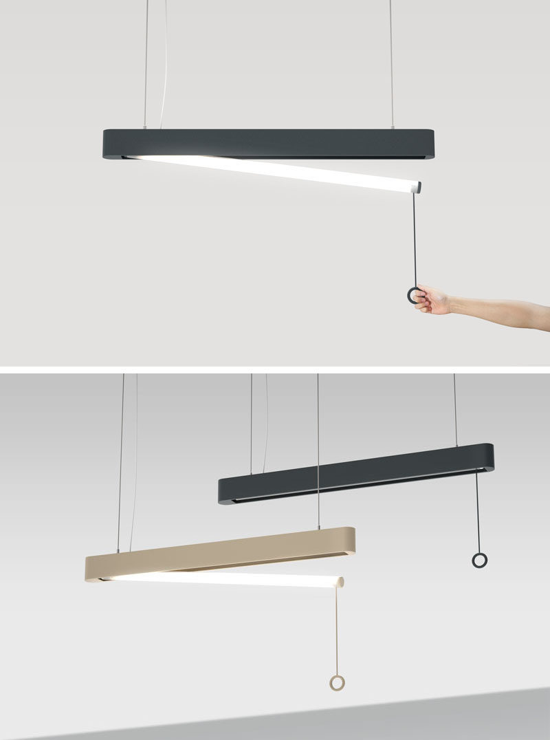 This OOPS! pendant lamp looks just like every other lamp until you turn one on and the light tube 'accidentally' drops down from the shade, creating an 'oops' moment.