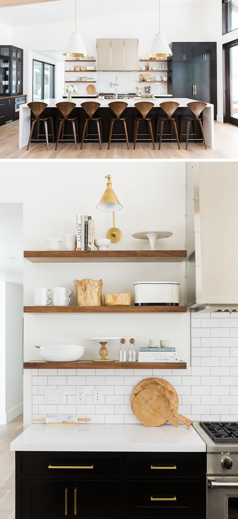 Kitchen design idea 19 examples of open shelving for Kitchen shelves design