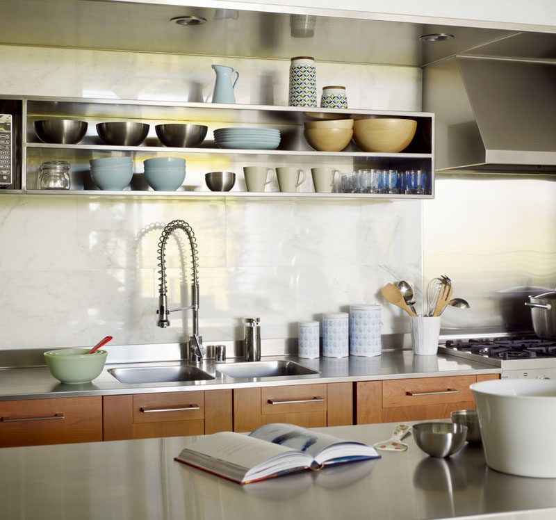 Kitchen Design Idea Open Shelving 19 Photos The Stainless Steel Shelves