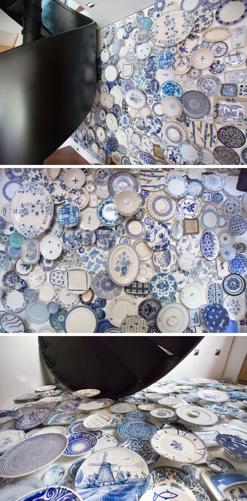 300 blue and white plates were used to create a three-dimensional accent wall.