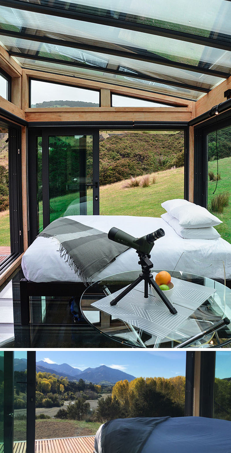 You can hike to and stay in a secluded glass hotel room in the middle of a valley in New Zealand.