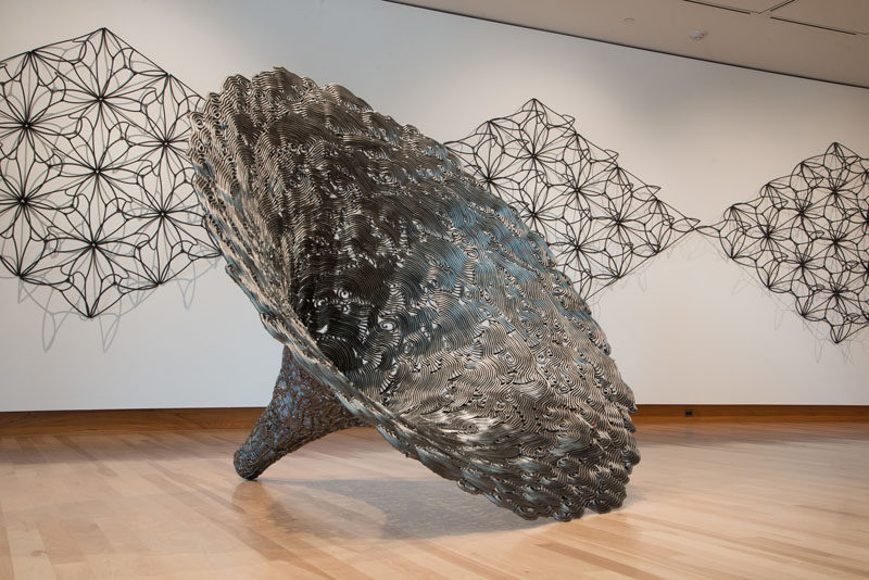 This sculpture by John Bisbee is made entirely from steel nails.