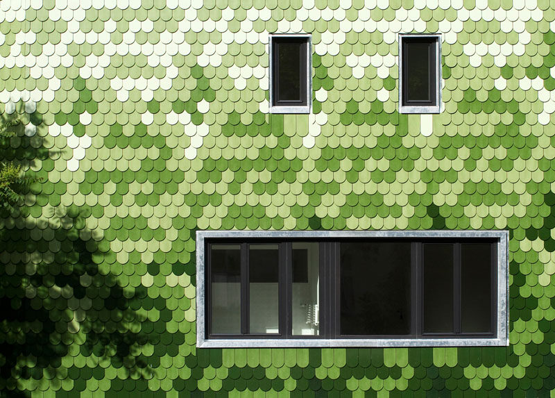 House Siding Idea ? Green And White Shingles Cover This Building In Berlin