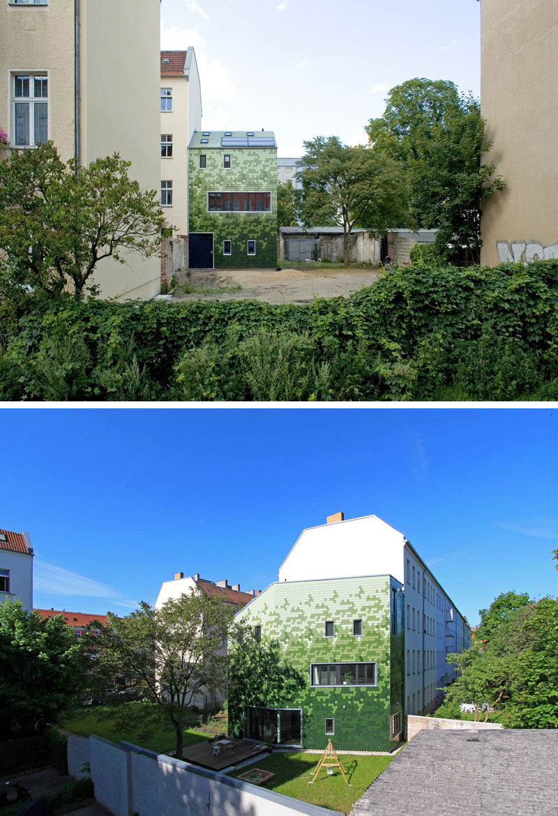 House Siding Idea - Multiple Shades Of Green Shingles Cover This Building In Berlin