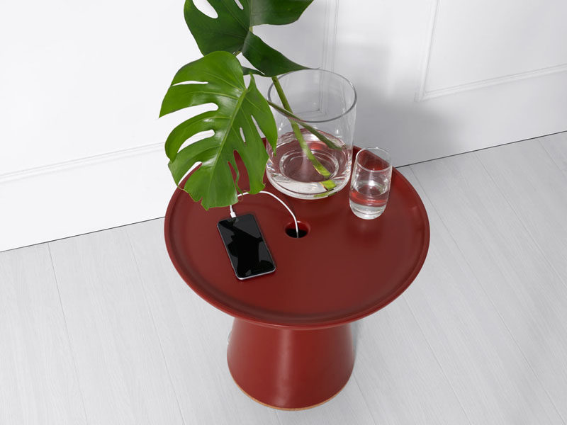 This Side Table Lets You Hide Your Charging Cables Within It