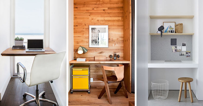 Small Home Office Idea ? Make use of a small space and tuck your desk away in an alcove
