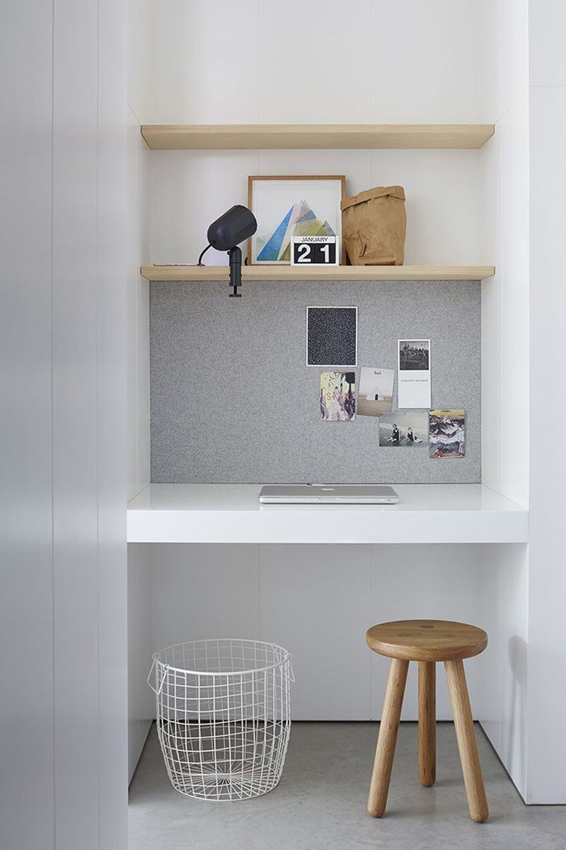 10 Small Home Office Ideas - Lining part of the wall of the alcove with a surface you can attach things to, like a bulletin board or a magnetic board, gives you a spot to stick photos, notes, and reminders to so you've always got inspiration around you while you work.