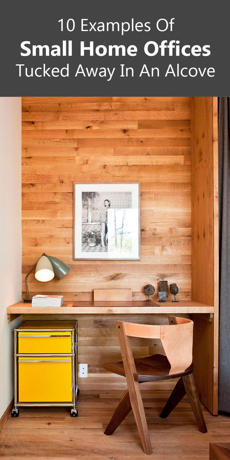 Small Home Office Idea - Make use of a small space and tuck your desk away in an alcove