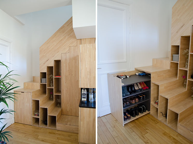 Pull-out shoe storage was designed for the space under these stairs