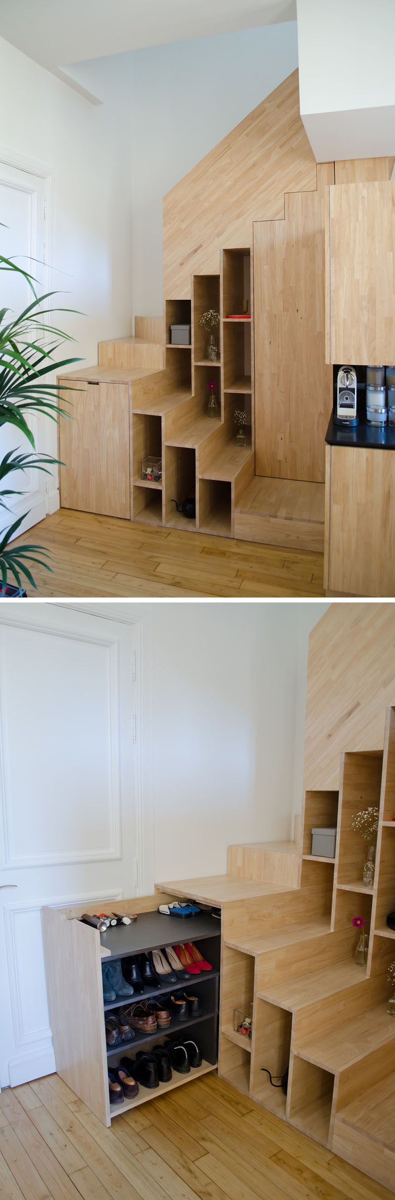 These Stairs Have Built In Shelves And Hidden Shoe Storage.