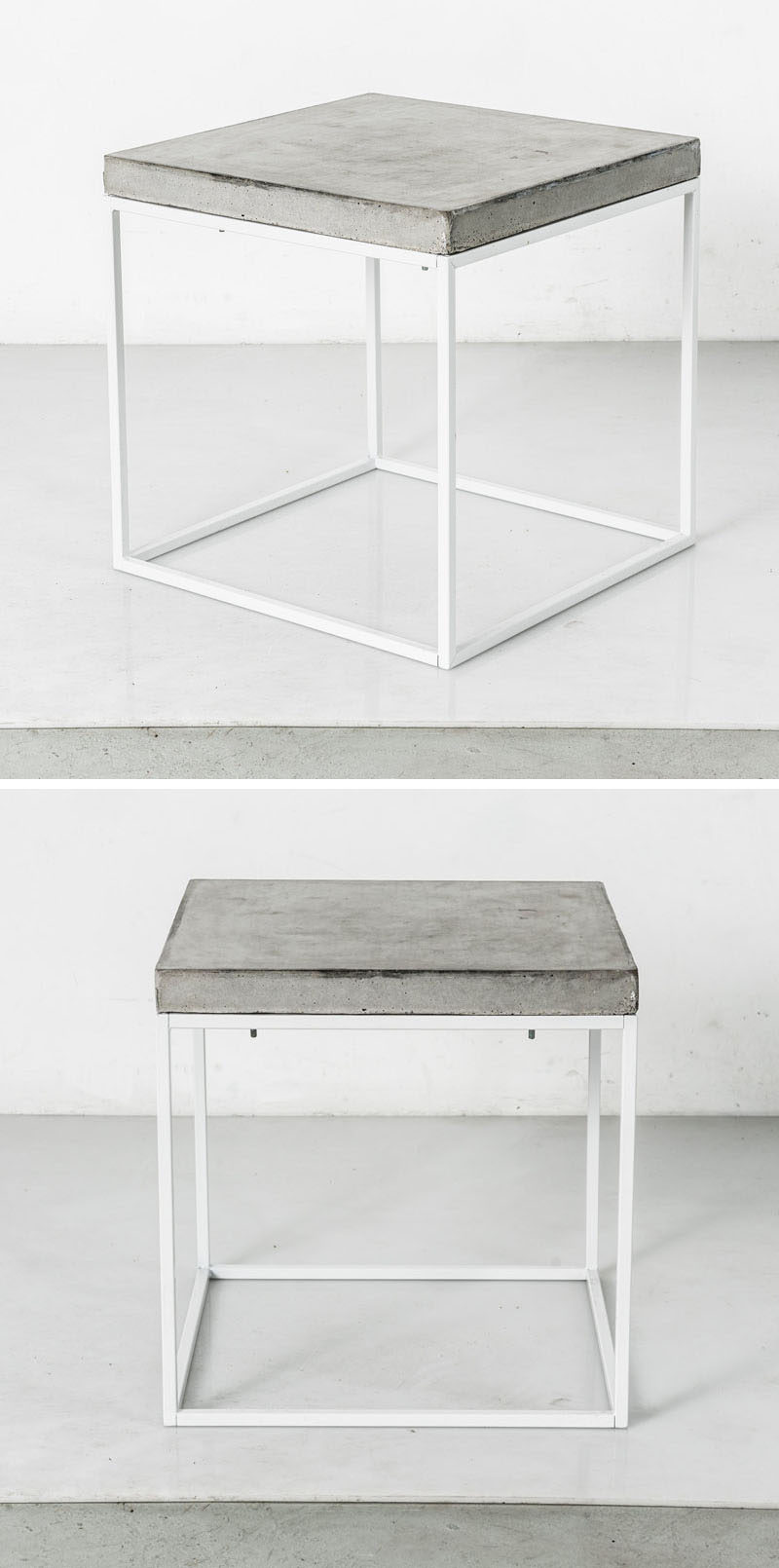 10 Examples Of Concrete and Steel Tables To Add To Your Industrial Interior // This table with a simple steel frame and a concrete top could easily help to industrialize a space.