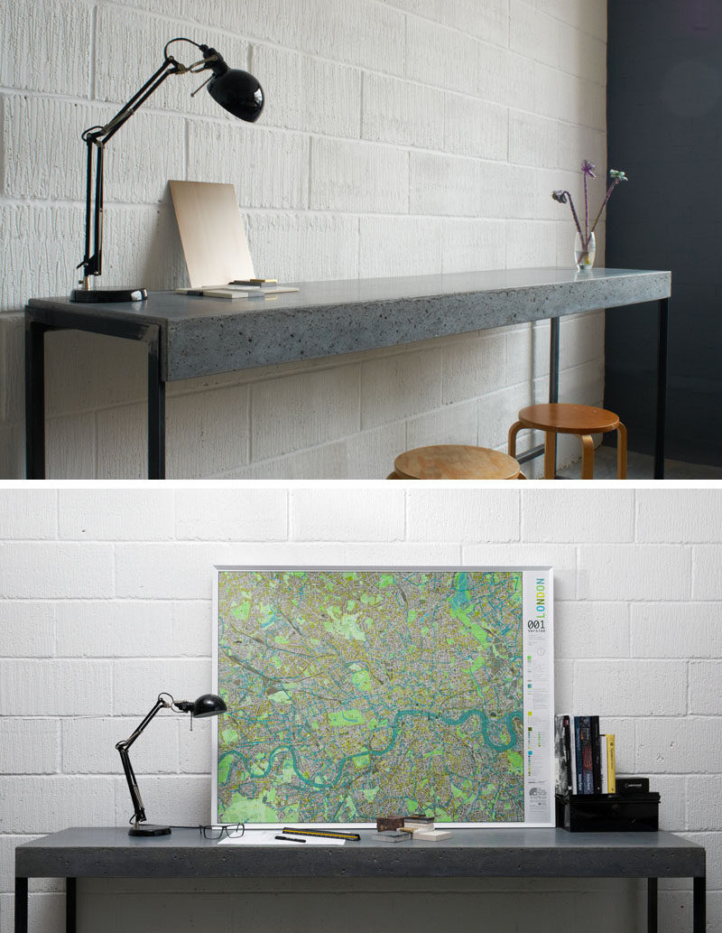 10 Examples Of Concrete and Steel Tables To Add To Your Industrial Interior // This thin concrete and steel table could be used as a work space or as an entry way table, perfect for dropping your keys and wallet when you get home from a long day.
