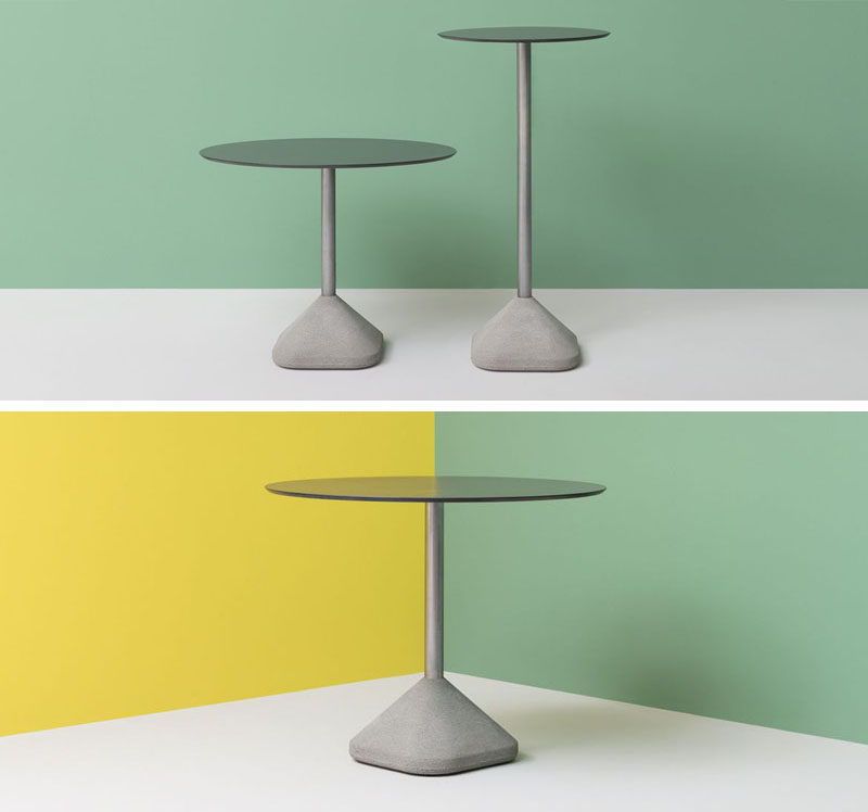 10 Examples Of Concrete and Steel Tables To Add To Your Industrial Interior // The concrete base of this side table makes it incredibly sturdy and unlikely to tip over if bumped or jostled.