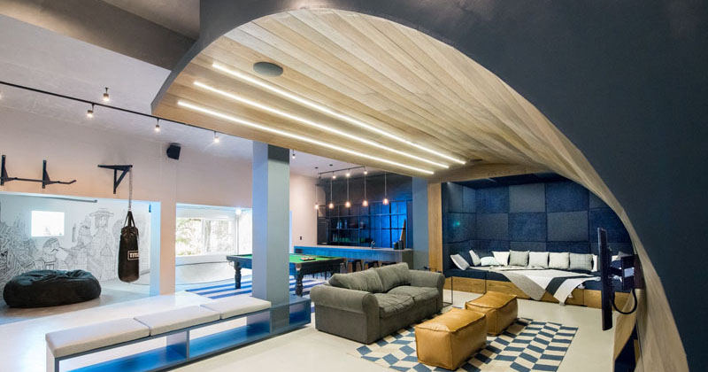 Man Cave Urban Meaning : Inhouse architects designed a quot man cave in the basement