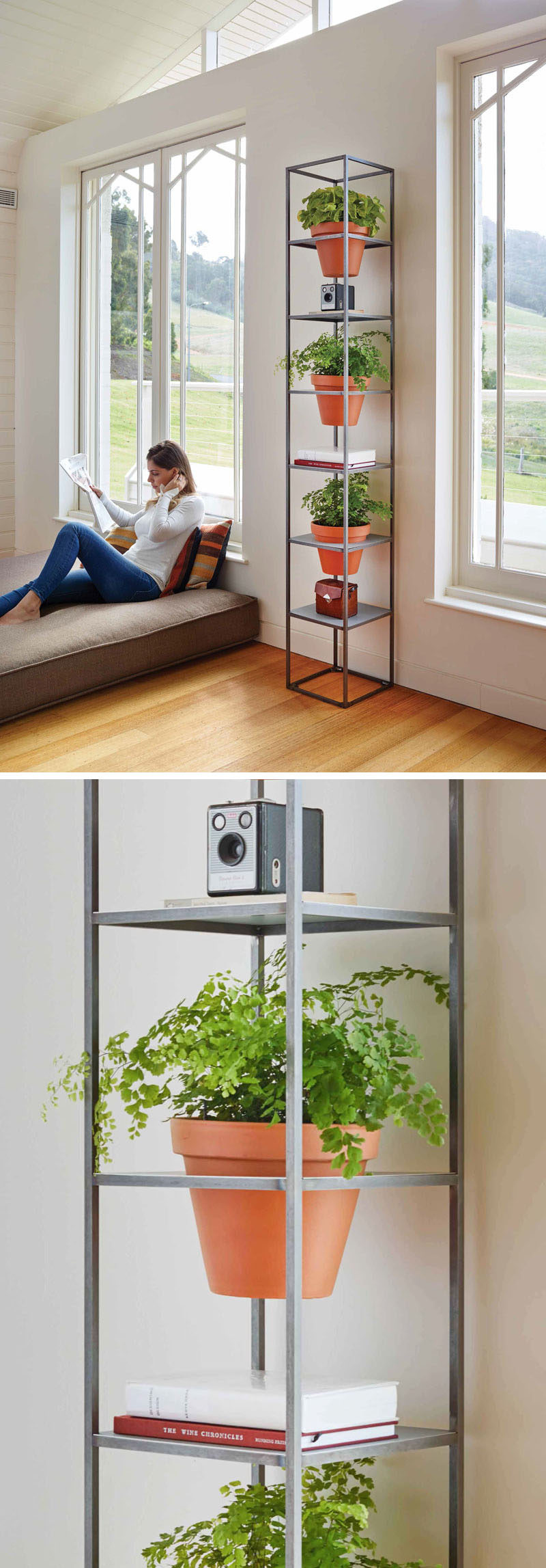 This standalone room divider is perfect for creating a vertical garden to show off your plants and decor.