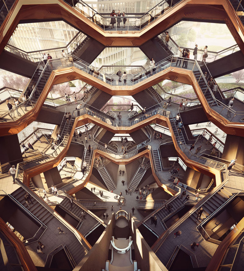 Vessel, a new public landmark in Manhattan, designed by Thomas Heatherwick, will open in 2018.