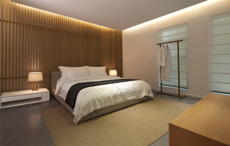 Wood Feature Wall bedroom wall design idea - create a wood slat accent wall