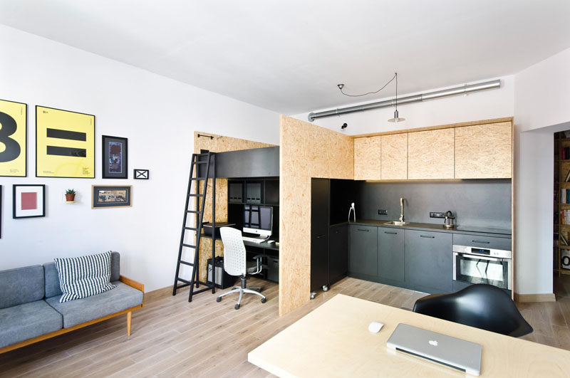 This small apartment with lofted bed, has been designed as a live/work space for a design studio.