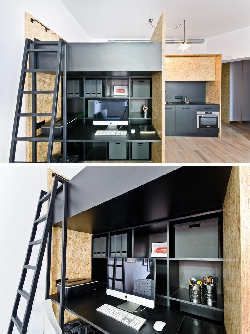 This small apartment has been designed as a live/work space for a design studio.