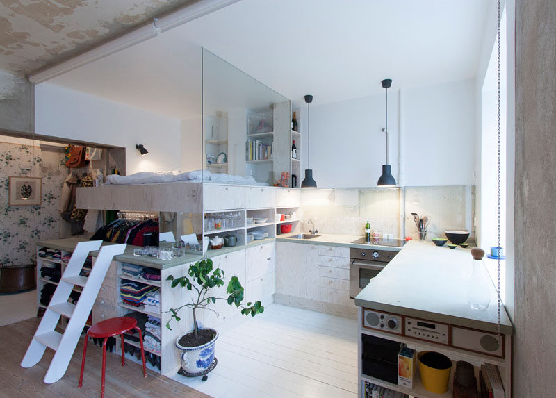 This architect made a small apartment liveable by designing a loft bed with closet underneath