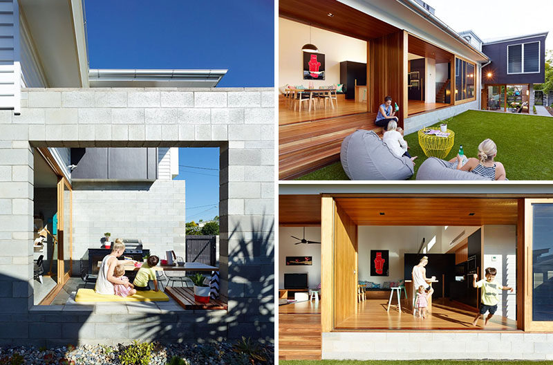 23 Awesome Australian Homes That Perfect Indoor / Outdoor Living // The entire main level of this home opens up to the backyard that features a pool, comfortable seating, as well as a dining space with built-in seating and a barbeque.