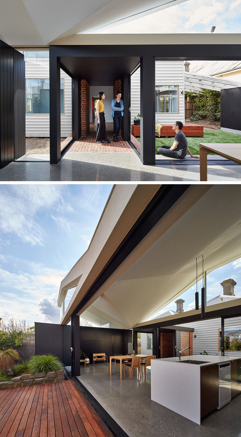 23 Awesome Australian Homes That Perfect Indoor / Outdoor Living // This house extension opens up on both sides to create a cross breeze and adds extra room for entertaining.