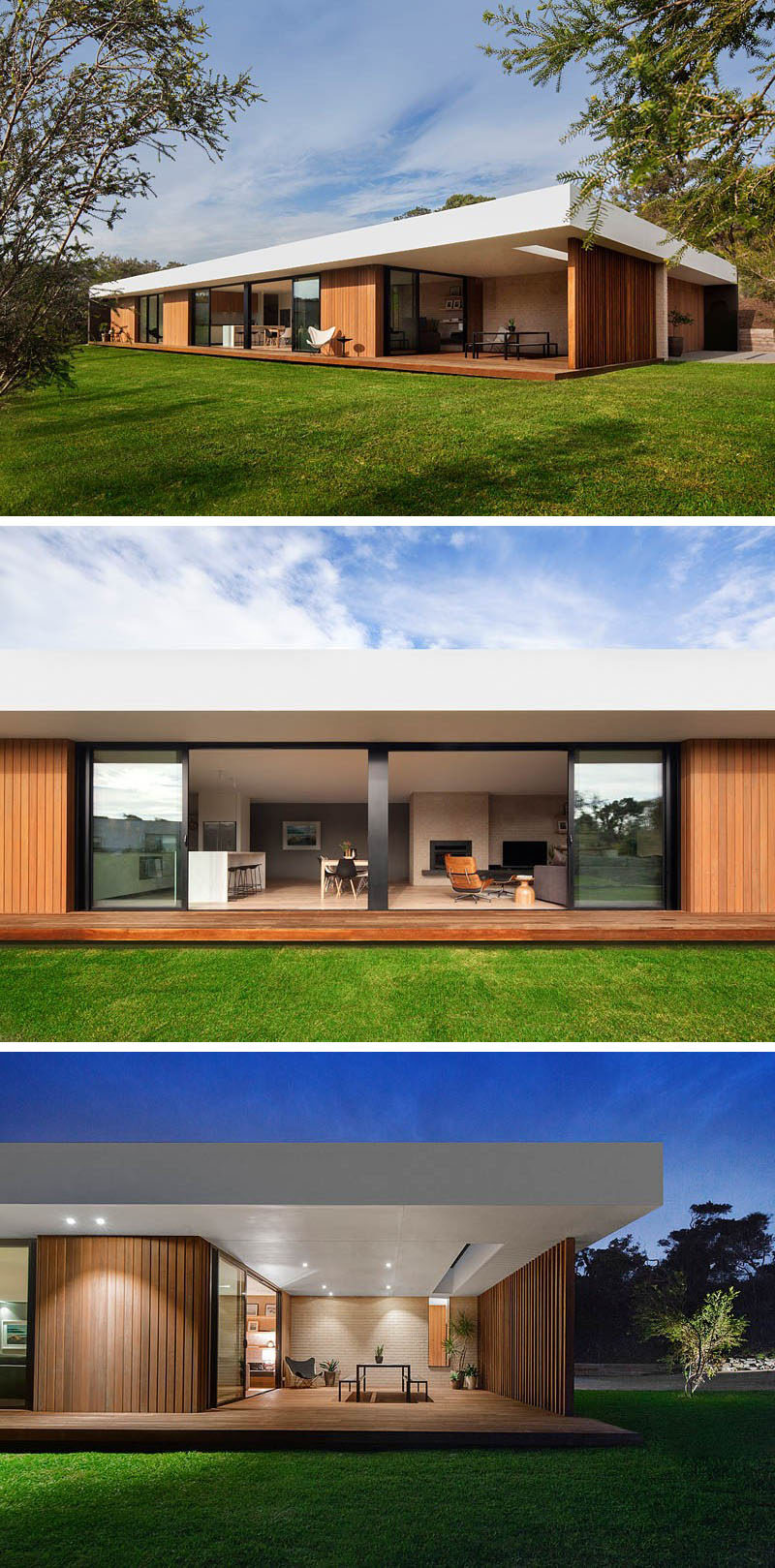 23 Awesome Australian Homes That Perfect Indoor / Outdoor Living // Long sliding glass doors along the back side of this home open up onto the backyard as well as onto a covered, lit dining patio - making outdoor dinner parties possible even on rainy nights.
