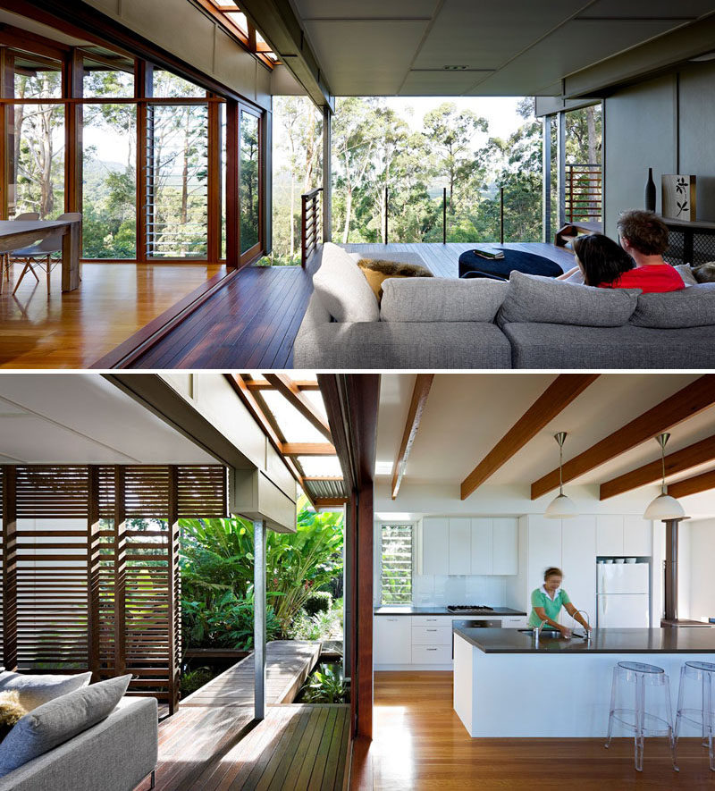 23 Awesome Australian Homes That Perfect Indoor / Outdoor Living // All sorts of doors and windows can be opened or closed to make this home very open and connected to the outdoors or completely sheltered from the elements.