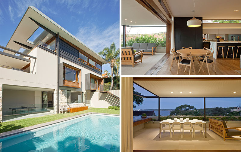23 Awesome Australian Homes That Perfect Indoor / Outdoor Living // Each level of this house is connected to an outdoor area, including the kitchen which opens entirely onto a covered patio with a lounge and dining area.