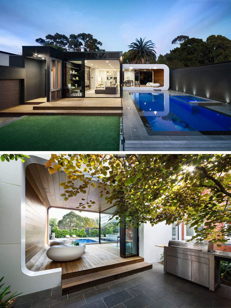 23 Awesome Australian Homes That Perfect Indoor / Outdoor Living // Both sides of the lounge area of this home open up to the outdoors and connect the living area of the house to the backyard, pool and the covered outdoor lounge.