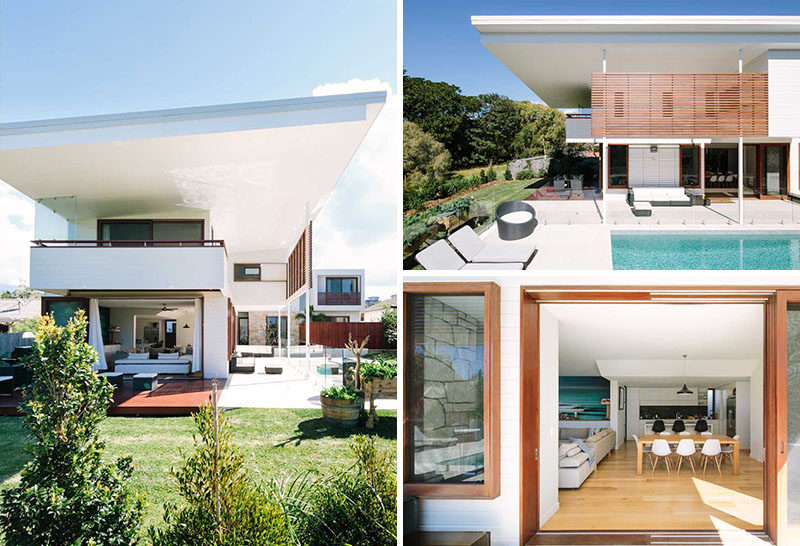 23 Awesome Australian Homes That Perfect Indoor / Outdoor Living // Massive glass doors open onto a covered entertaining and outdoor kitchen on one side, and onto the pool deck and uncovered lounging space on the other side.